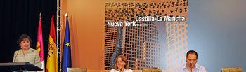 La consejera de Educación, Ciencia y Cultura, María Ángeles García, durante la presentación en el Instituto Cervantes en Madrid del libro Castilla-La Mancha-Nueva York en armonía. Junto a ella la directora del Instituto, Carmen Caffarel, y el autor del libro, José Talavera.