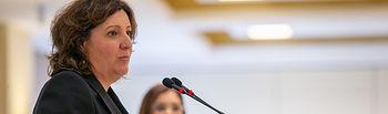 La consejera de Economía, Empresas y Empleo, Patricia Franco, participa en el desayuno 'Espacio Reservado' del medio de comunicación Encastillalamancha. (Fotos: A. Pérez Herrera // JCCM).