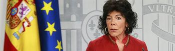 La ministra de Educación y Formación Profesional y portavoz del Gobierno, María Isabel Celaá, durante la rueda de prensa posterior al Consejo de Ministros.