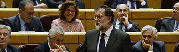 El presidente del Gobierno, Mariano Rajoy, durante una de sus intervenciones en la sesión de control al Ejecutivo celebrada en el Senado.