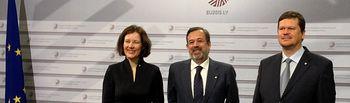 Ramos y ministra Economía y M.Ambiente Letonia, en Consejo Informal. Foto: Ministerio de Agricultura, Alimentación y Medio Ambiente