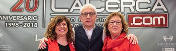 Ascensión López, intermediadora laboral de la Agencia de Colocación de Cáritas; Amelia Mondéjar, técnico de Empleo de Cruz Roja Española en Albacete; y Manuel Lozano Serna, director del Grupo Multimedia de Comunicación La Cerca