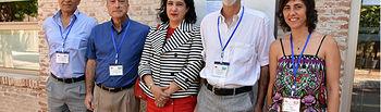 Nazario Martín y Maurizio Prato con Fátima Guadamillas y los padrinos, Fernando Langa y Esther Vázquez.