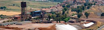 Vista de la escombrera restaurada del Parque Minero de Almadén.