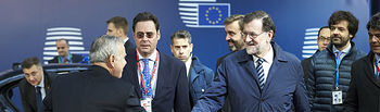 El presidente del Gobierno, Mariano Rajoy, a su llegada a la sede Consejo Europeo que se celebra en Bruselas.