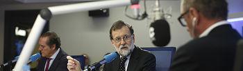 """El presidente del Gobierno, Mariano Rajoy, en el transcurso de la entrevista concedida al programa """"Herrera en COPE"""" de la Cadena COPE."""