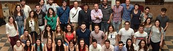 Profesores, alumnos y autoridades de Almedina (Ciudad Real).
