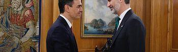 Pedro Sánchez promete su cargo ante Felipe VI, como presidente del Gobierno, sin símbolos religiosos. Foto: Casa Real