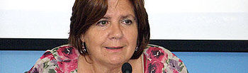 Paula Fernández durante la rueda de prensa que ha ofrecido esta mañana en Ciudad Real