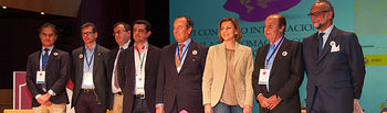 María Dolores de Cospedal junto a los ponentes de la cuarta mesa redonda del I Congreso Internacional de Tauromaquia.