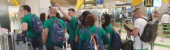 Participantes en la primera convocatoria de las becas, antes de iniciar su viaje a Irlanda el año pasado. Fotografía: Ayuntamiento de Azuqueca de Henares