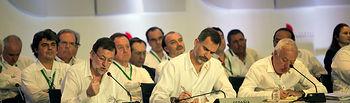 XXIV Cumbre Iberoamericana. Foto de su Majestad el Rey Felipe VI, el presidente del Gobierno Mariano Rajoy, y el ministro de Asuntos Exteriores y de Cooperación José Manuel García-Margallo