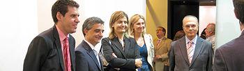 El director general de Promoción Empresarial y Comercio, Ignacio Felpeto, y el director del IPEX, Javier Vega, han visitado hoy a las empresas de la Región participantes en Moda Calzado, que se celebra en Madrid.