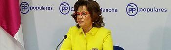 Riolobos en rueda de prensa en la sede del PO de CLM