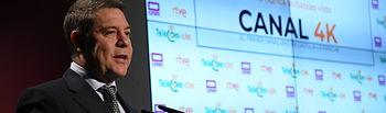 El presidente regional, Emiliano García-Page, participa, en el Auditorio Principal de Castilla-La Mancha Media (CMM), en el encendido simbólico de las emisiones de CMM en calidad 4k. (Fotos: José Ramón Márquez // JCCM).