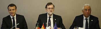 El presidente del Gobierno, Mariano Rajoy, preside una reunión con el presidente de la República de Francia, Emmanuel Macron, y el primer ministro de Portugal, António Costa, con representantes de la Conferencia de las Regiones Ultraperiféricas de la UE.