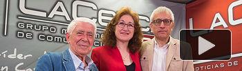 José María Roncero, Presidente de la Unión de Consumidores de España (UCE) en Albacete, María Dolores Gómez, Presidenta del Consorcio Provincial de Consumo de Albacete, y Manuel Lozano, director del Grupo Multimedia de Comunicación La Cerca