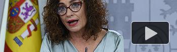 La ministra de Hacienda y portavoz del Gobierno, María Jesús Montero, en su primera rueda de prensa posterior al Consejo de Ministros, como portavoz del Gobierno.