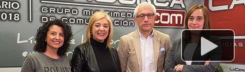 Évelin R. Molano, responsable Departamento Asociaciones de FEDA, Toñi Pastrana, presidente de la Asociación de Mujeres Empresarias de Albacete (AMEPAP), Rosario Jiménez, vicepresidenta de FEDA, junto a Manuel Lozano, director del Grupo Multimedia de Comunicación La Cerca