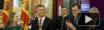 El presidente del Gobierno, Mariano Rajoy, y el presidente de Argentina, Mauricio Macri, junto a la presidenta del Congreso, Ana Pastor, y el ministro de Asuntos Exteriores y de Cooperación, entrando en el Congreso de los Diputados.