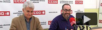 José Luis Gil, secretario general regional de CCOO en Castilla-La Mancha, junto a Francisco de la Rosa, secretario general provincial de CCOO en Albacete.