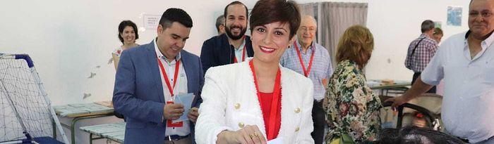 Isabel Rodríguez votando. 26M.