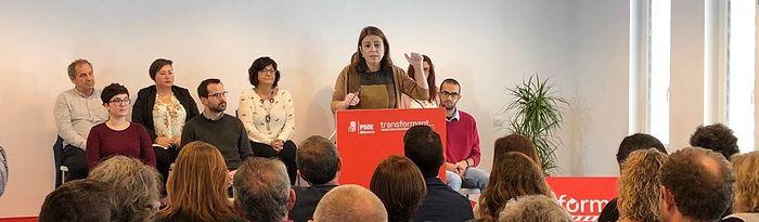 Adriana Lastra en un acto del PSIB en Menorca