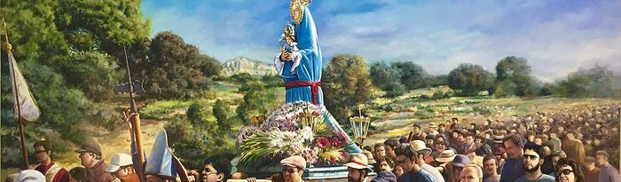 La obra 'Romería a la Virgen de Belén', de Ruano, ya luce en las paredes de la iglesia de la Asunción de Almansa