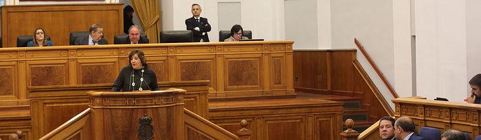 Patricia Franco en el Pleno de las Cortes regionales.