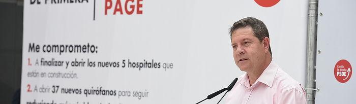 Emiliano García-Page en un acto en Tarazona de La Mancha.