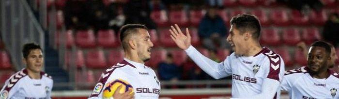 Jugadores del Albacete Balompié celebrando un gol