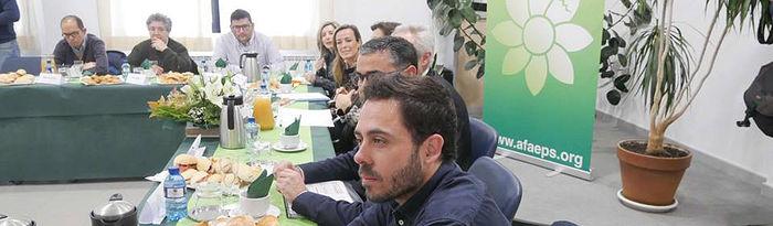 Fran Casamayor, candidato de Unidas Podemos por Albacete al Congreso de los Diputados, en el debate sobre el voto de los discapaciatos en AFAEPS.