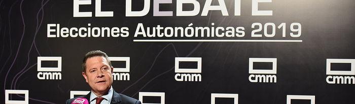 El presidente de Castilla-La Mancha y candidato a la reelección, Emiliano García-Page, participa en el debate electoral organizado por la television autonómica CMM. (FOTOS: José Ramón Márquez//PSCMPSOE)