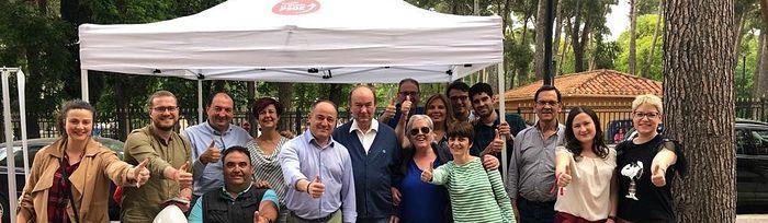 Emilio Sáez mantiene un encuentro con apoderados e interventores del PSOE de Albacete.