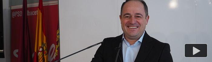 Emilio Sáez, secretario general del PSOE en la ciudad de Albacete y candidato a la Alcaldía,  en la sede del PSOE.
