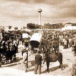 """Ejidos y Fiesta del Árbol a mitad del siglo XX, donde se puede ver el importante mercado de ganado instalado en """"La Cuerda""""."""