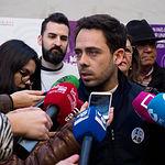 Francisco José Casamayor, candidato al Congreso por Unidas Podemos en Albacete, durante la tradicional Pegada de Carteles de las Elecciones Generales del 28A