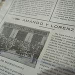 """Recorte de periódico en que que aparece """"Amando y Lorenzo"""""""