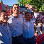 Pedro Sánchez junto a Emiliano García-Page y Manuel González Ramos.