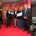 Juan Damián Cuartero Picazo (Huntec), Pedro Belmonte, Manuel de Paz y Juan Gil, en la Gala de entrega de los XI Premios Taurinos Samueles correspondientes a la Feria de Taurina de Albacete 2016