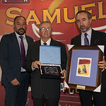 Juan Cantos 'El Pimpi de Albacete', recogiendo el Reconocimiento del Jurado de los IX Premios Taurinos Samueles.