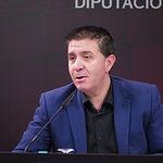 Santiago Cabañero, presidente de la Diputación durante la presentación de  los actos programados con motivo del Día de Albacete en Fitur 2018.