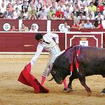 """""""Serranito"""" durante la lidia del toro """"Pimentito"""" del ganadero Samuel Flores."""