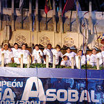 La plantilla del Balonmano Ciudad Real que ganó por primera vez la Liga Asobal, se presentó ante su afición desde el Ayuntamiento de Ciudad Real.