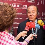 El ganadero Samuel Flores, en al gala de entrega de los XI Premios Taurinos Samueles correspondientes a la Feria de Taurina de Albacete 2016
