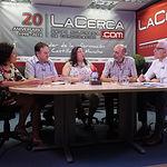 Ángela López González, secretaria general Hermandad de Donantes de Sangre de Albacete; Juan Gabriel Murcia Gómez, vocal de Promoción de la Hermandad de Donantes de Sangre de Albacete; Natalia Hernández de León, directora del Centro Regional de Transfusiones; Jesús Igualada Pedraza, presidente de la Hermandad de Donantes de Sangre de Albacete; y Manuel Lozano Serna, director del Grupo Multimedia de Comunicación La Cerca