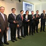 Emiliano García-Page, en el 40 Aniversario de FEDA, junto a otras autoridades y el presidente de la Confederación de Empresarios, Artemio Pérez.