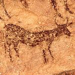 Imagen donde se ve representada la figura de un toro en el Abrigo Grande de Minateda.