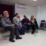 Candidatos, miembros y simpatizantes de Unidas Podemos Albacete durante el recuento de las votaciones de las Elecciones Generales 10N. Foto: Manuel Lozano Garcia / La Cerca