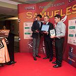 Manuel Amador, Enrique Simón Flores y Damián García en la Gala de entrega de los XI Premios Taurinos Samueles correspondientes a la Feria de Taurina de Albacete 2016